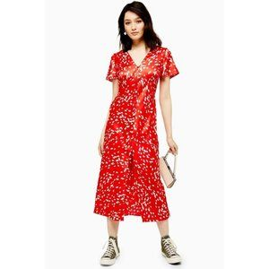 Topshop Dalmation Angel Sleeve Midi Dress in Red 6